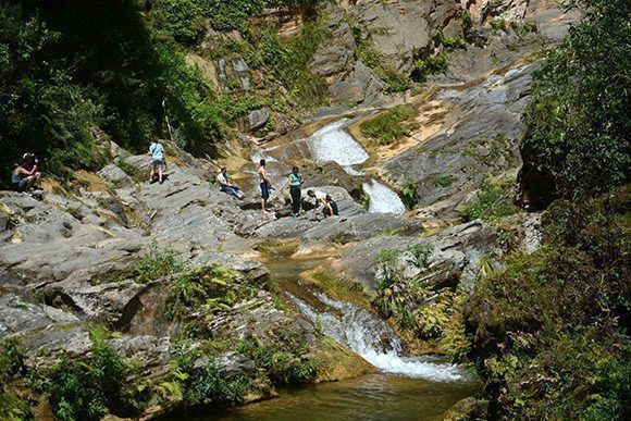 From the Salto del Caburní, a beautiful nature of the Great Natural Park Topes de Collantes, from the mountain the waters descend clean and fresh.
